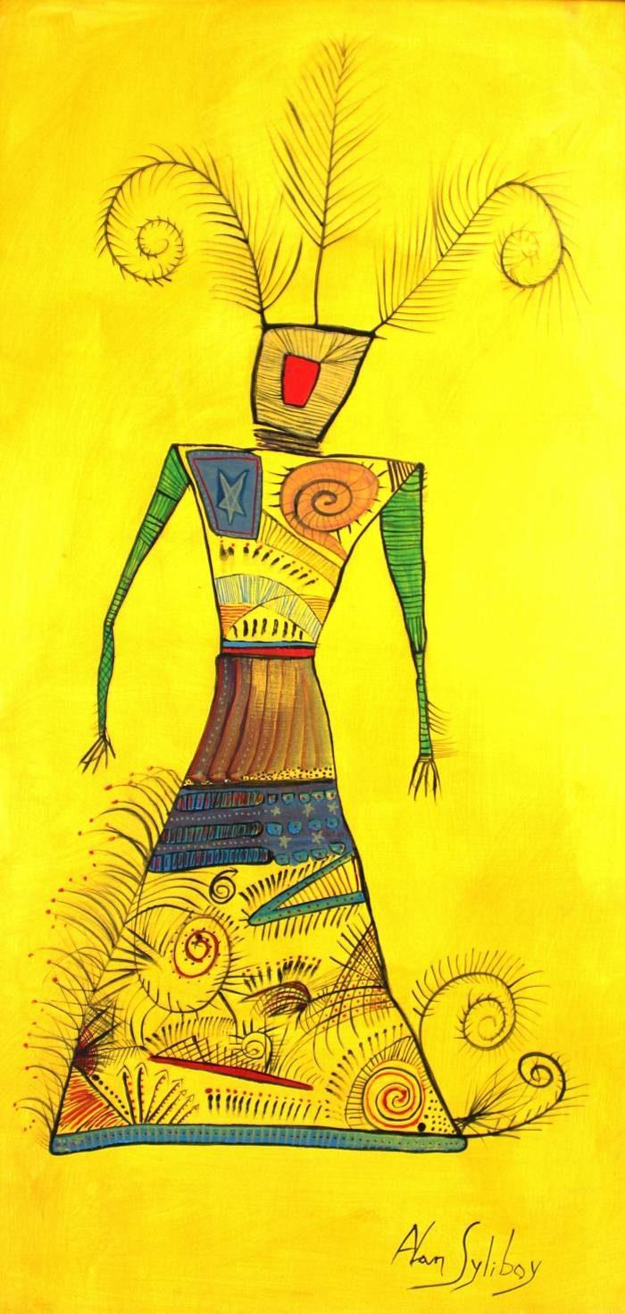 Alan Syliboy - Mi'kmaw Woman, Yellow Series
