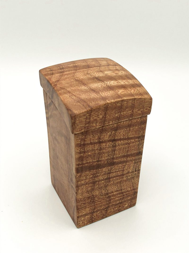 Ian MacDonald - Tall Figured Maple Box with curved lid & small inset