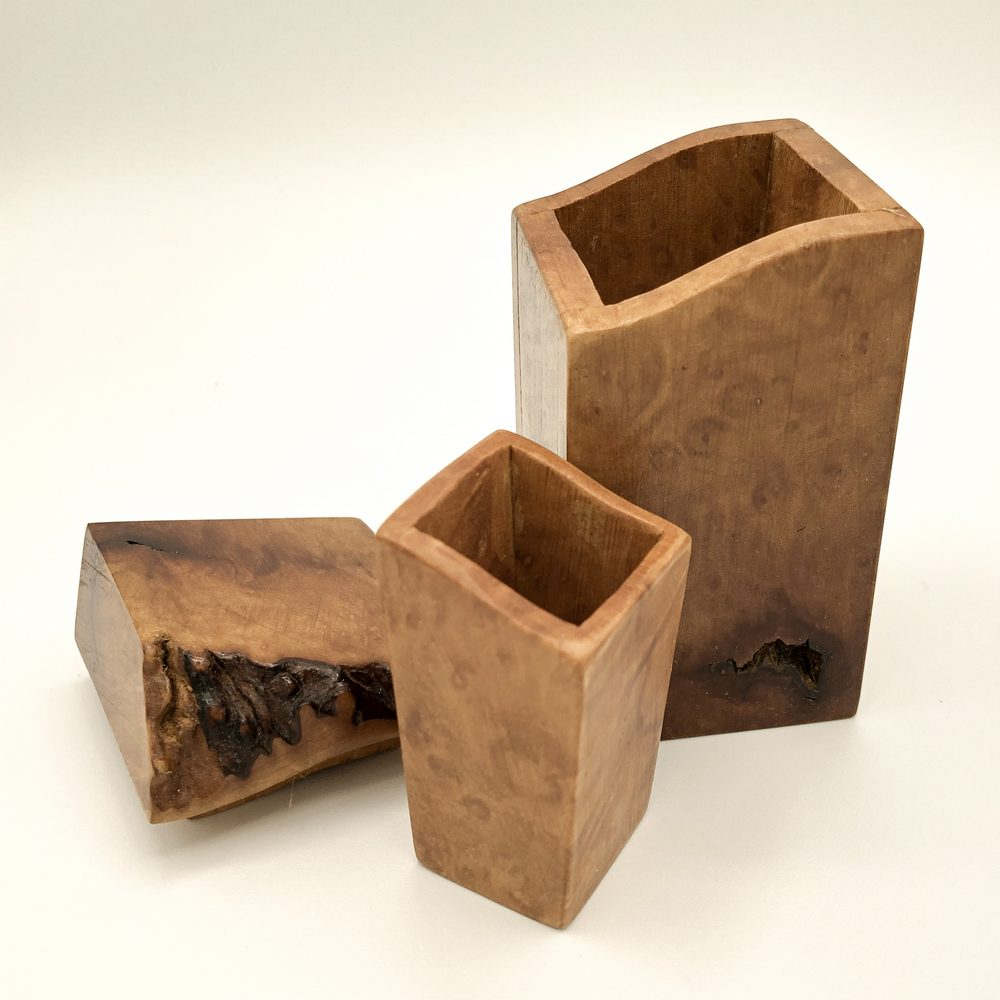 Ian MacDonald - Tall Figured Madrone Box with curved lid & small inset