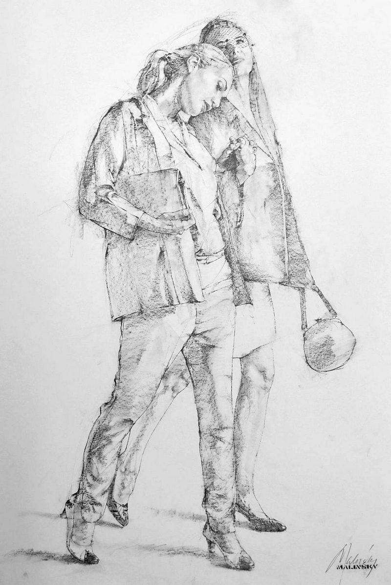 Charles Malinsky - Study of Two Women