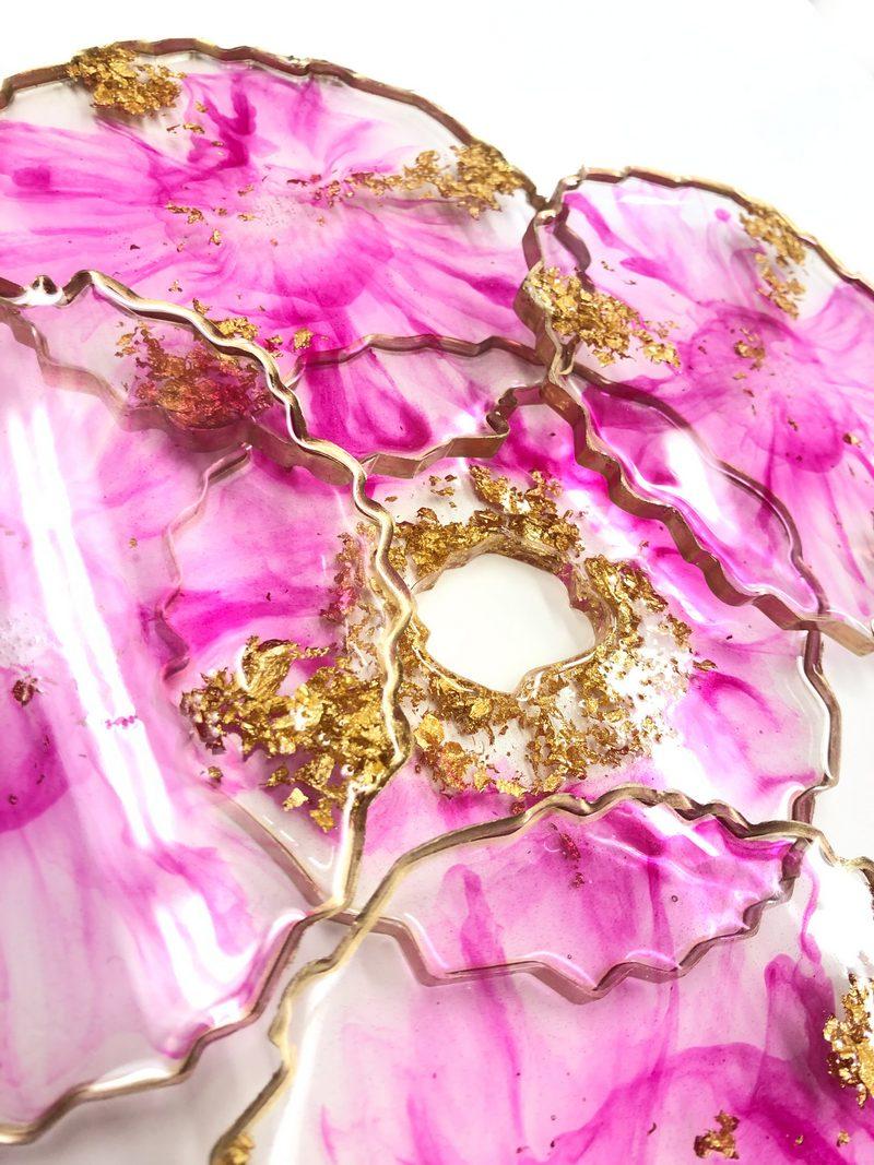 Neerja Trehan - Fuchsia & Gold Round Coasters set/4