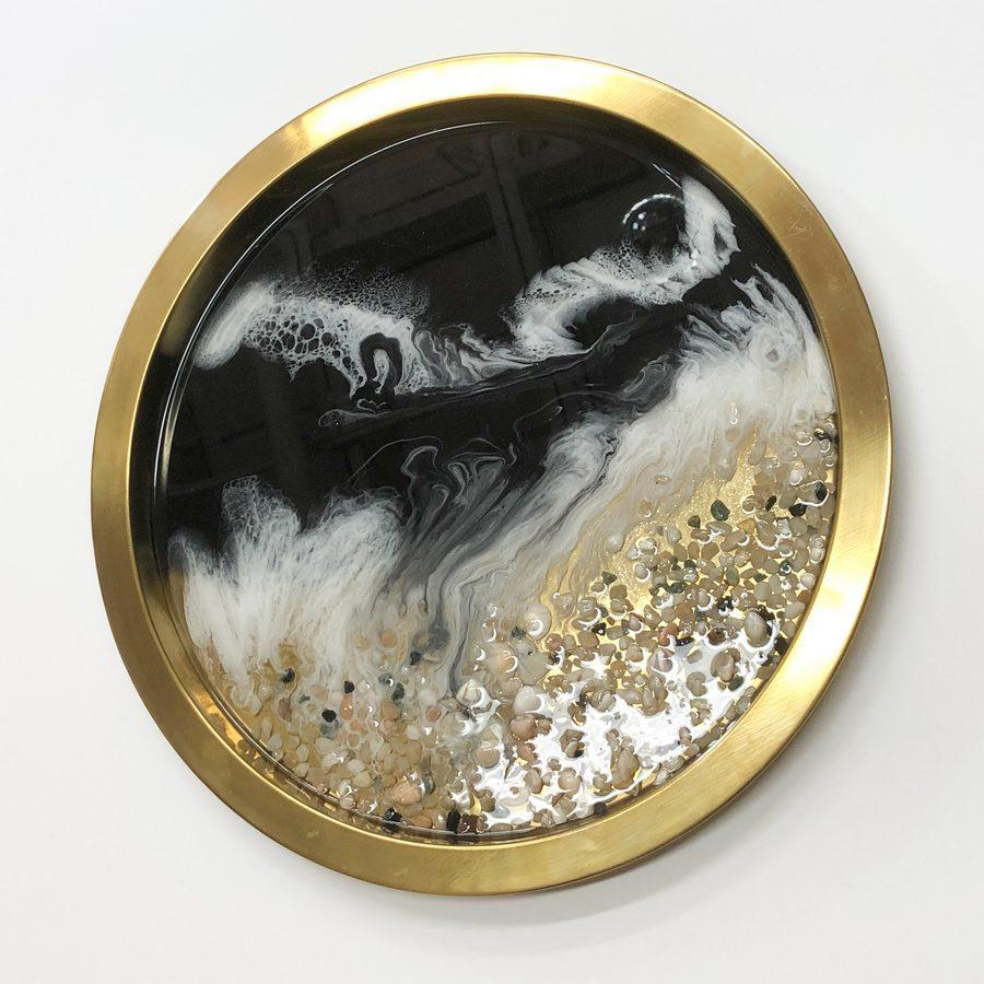 Neerja Trehan - brass tray w/ resin, black acrylic, shells & pebbles