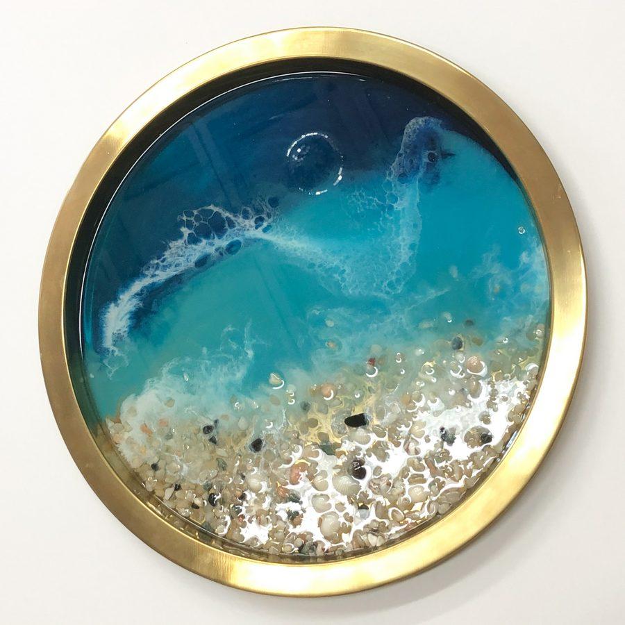 Neerja Trehan - brass tray w/ resin, teal acrylic, shells & pebbles