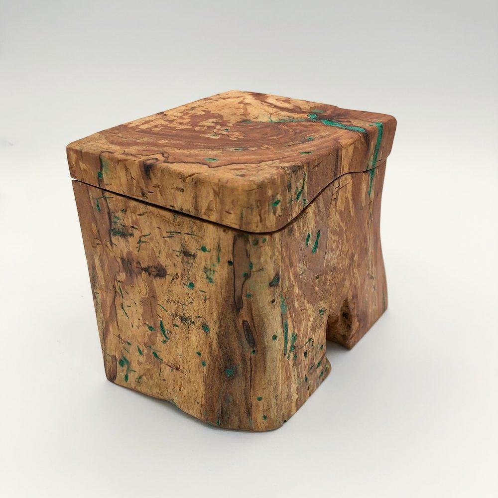 Ian MacDonald - Fruitwood Box w/ Malachite Infusion and Live Edge Front
