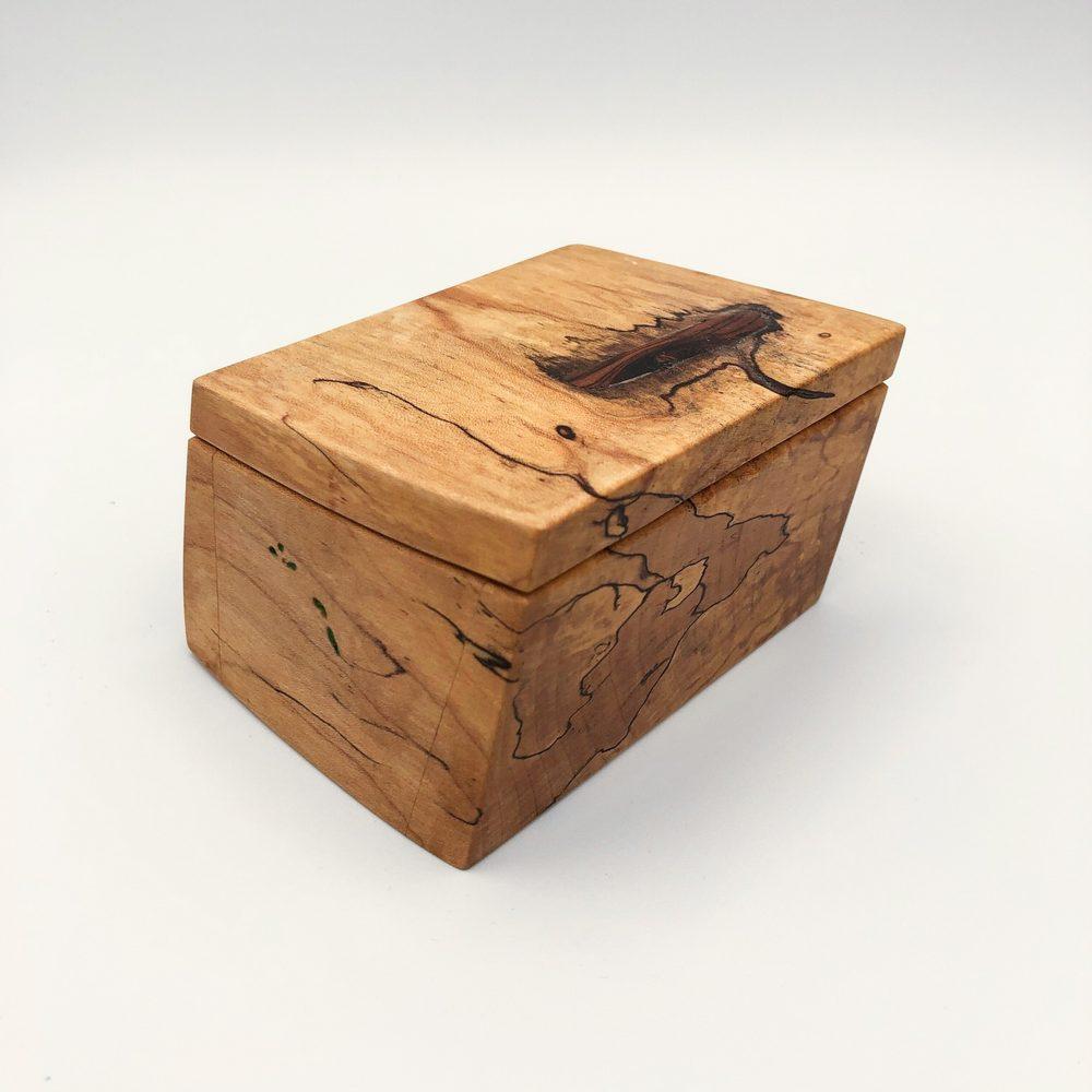 Ian MacDonald - Set of 2 Slanted boxes: Spalted Maple w/ Malachite Infusion