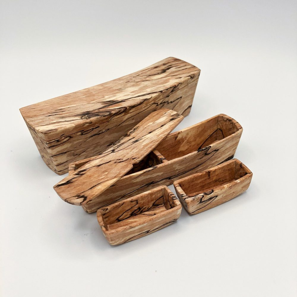 Ian MacDonald - Set of 4 boxes with swoop top: spalted maple