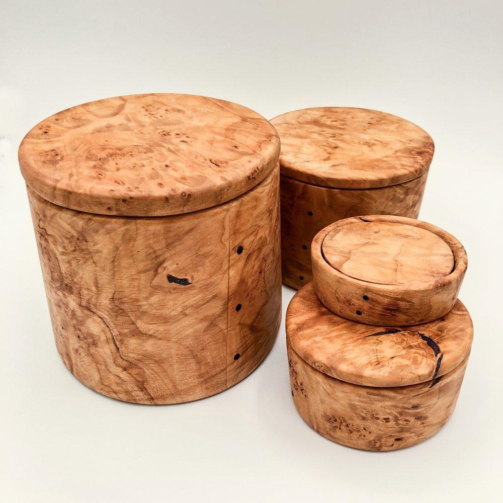 Ian MacDonald - Set of 4 round nesting boxes: figured maple w/ lapis luzuli & ebony accents