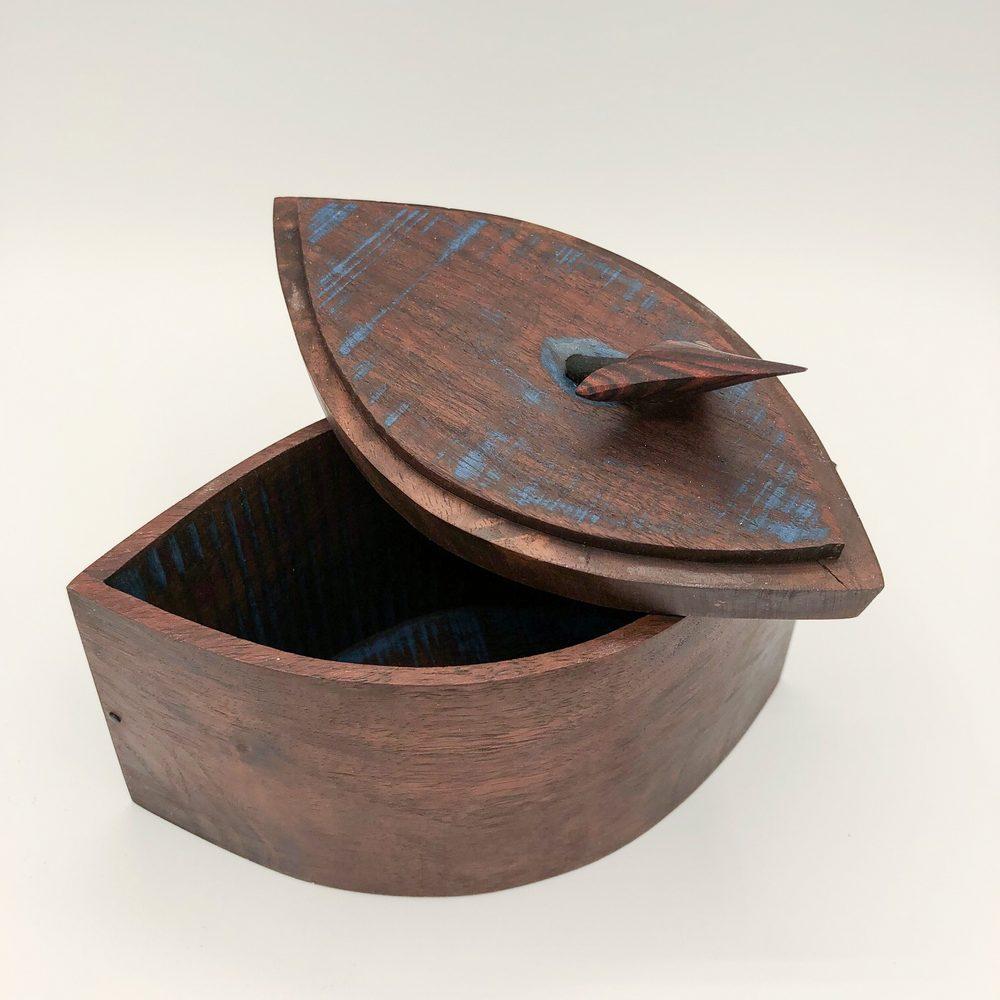 Ian MacDonald - Arrow Box: pointed curve claro walnut box with kingwood & ebony arrow, lapis luzuli infusion, blue milk paint interior and ebony accents - SOLD
