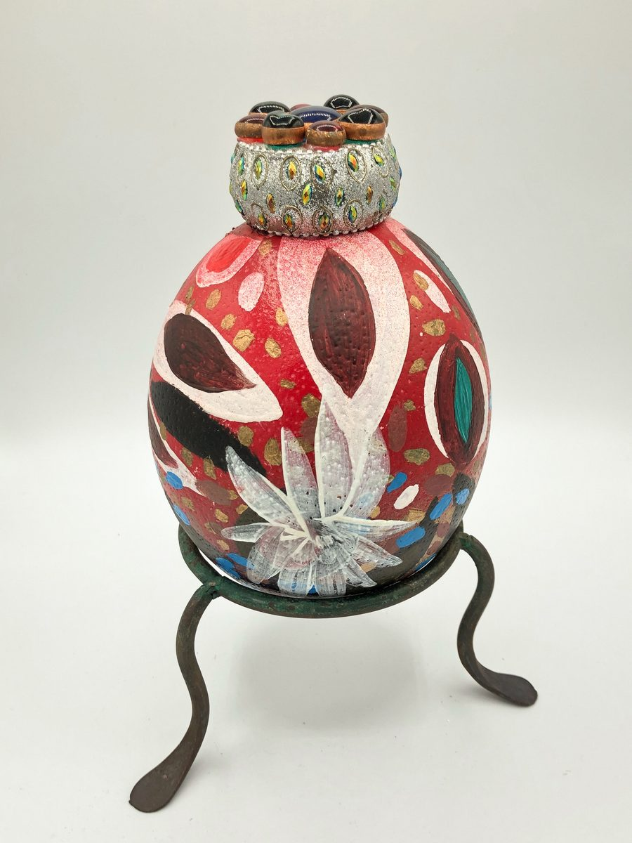 Toller Cranston - hand-painted ostrich egg