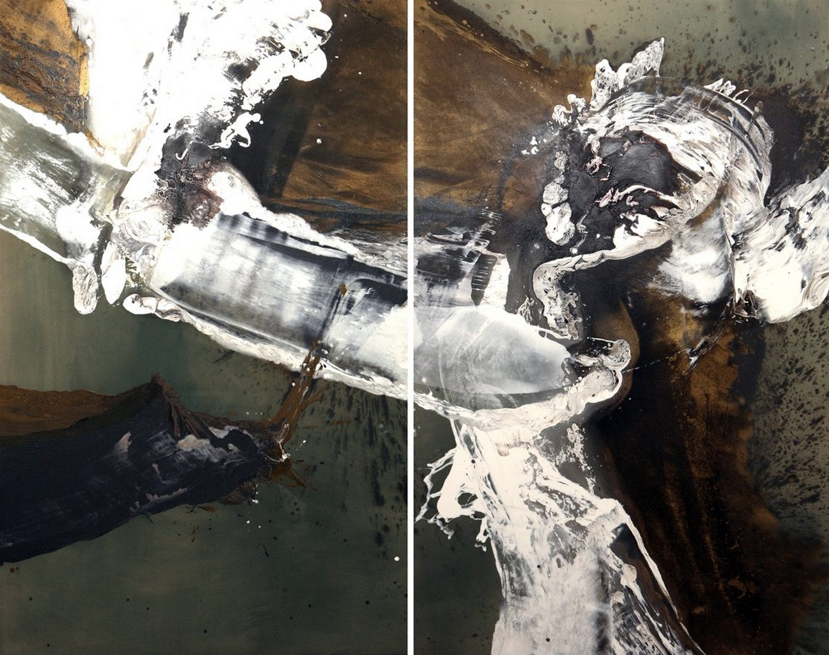 "Lila Lewis Irving - Gotterdamerung (diptych) - 96""x120"" - LLI0020 - acrylic on canvas - $22,500 unframed"