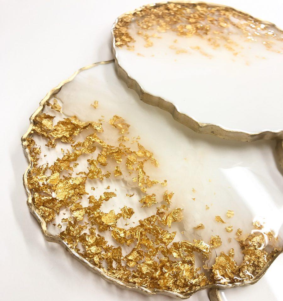 Neerja Trehan - White & Gold round Coasters Set