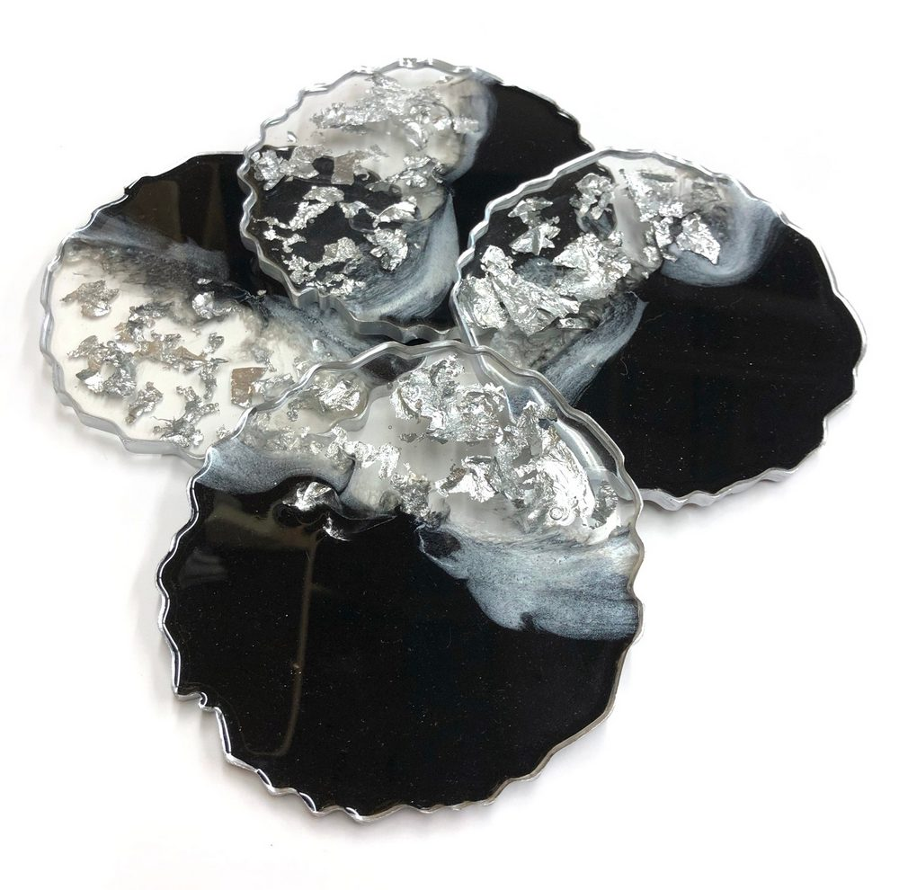 Neerja Trehan - Round Coasters Set of 4, Black & Silver