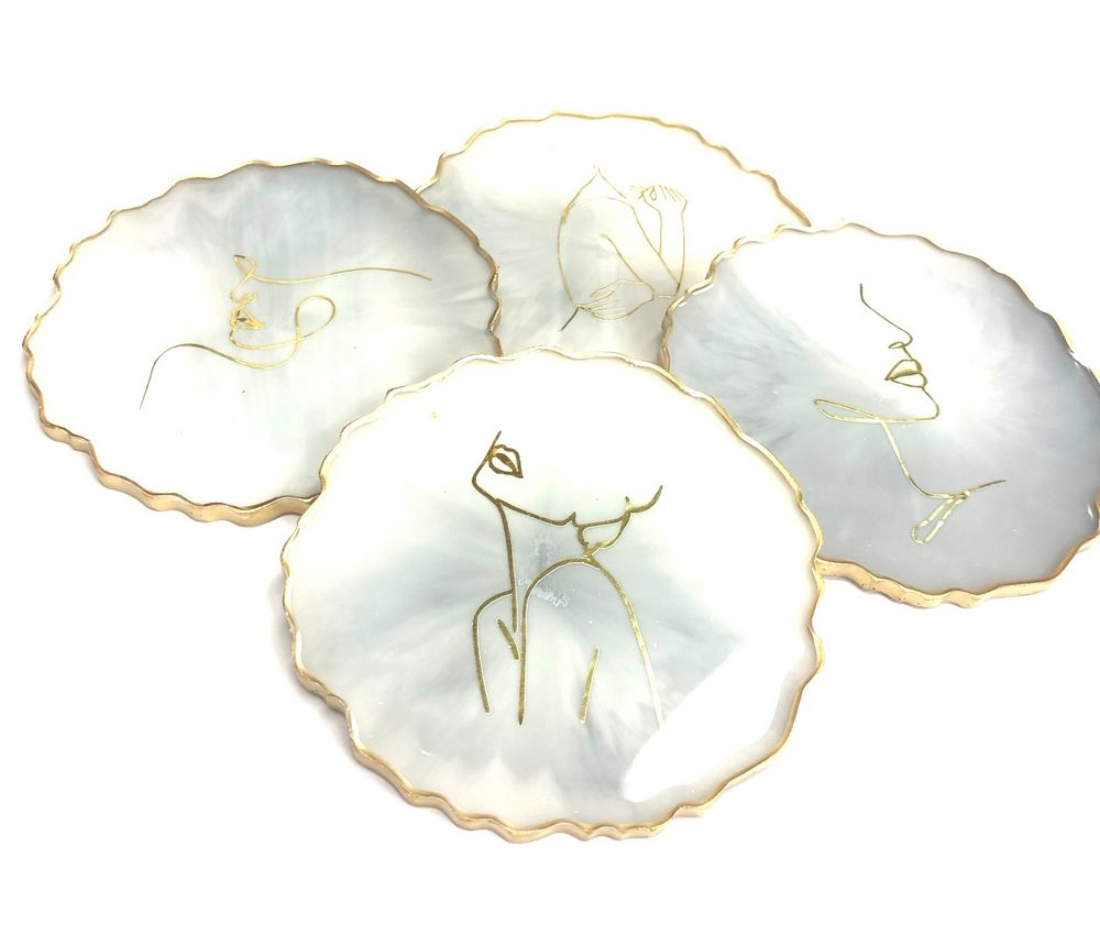 Neerja Trehan - Round Coasters Set of 4, White with Gold Line Drawings