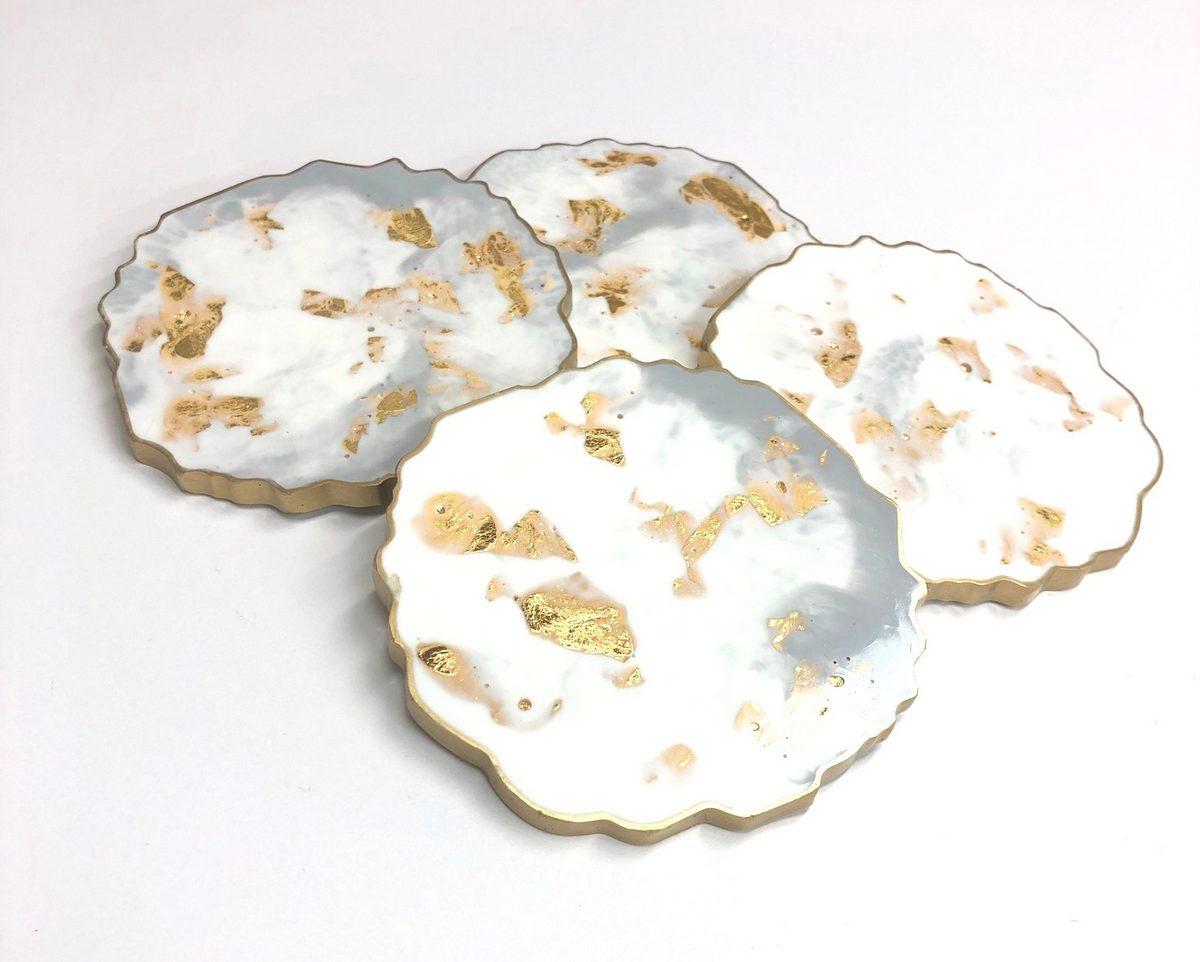 Neerja Trehan - Round Coasters set of 4, White, Grey & Gold