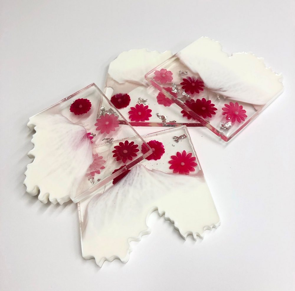 Neerja Trehan - Square Coasters Set of 4, White with Pink Flowers