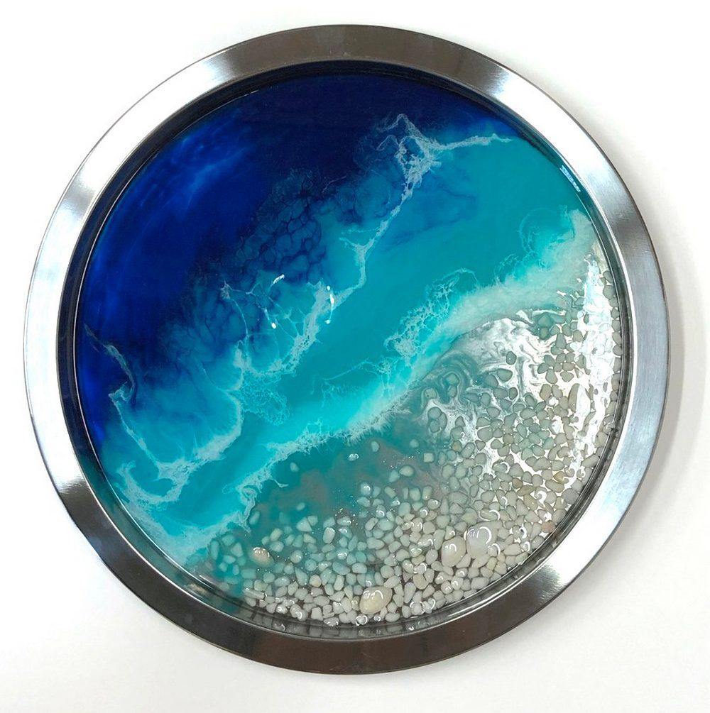 Neerja Trehan - Silver Tray w/ Epoxy, Teal Acrylic, Shells & Pebbles