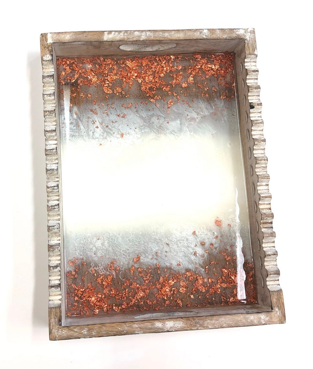 Neerja Trehan - Ornate Wooden Tray w/ Epoxy, Acrylic & Copper Leaf